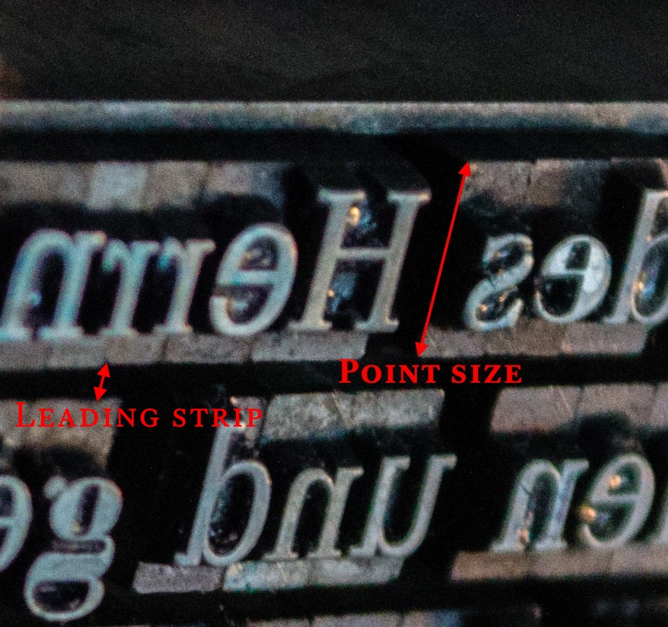 Figure 3.9 - Metal type (point size)