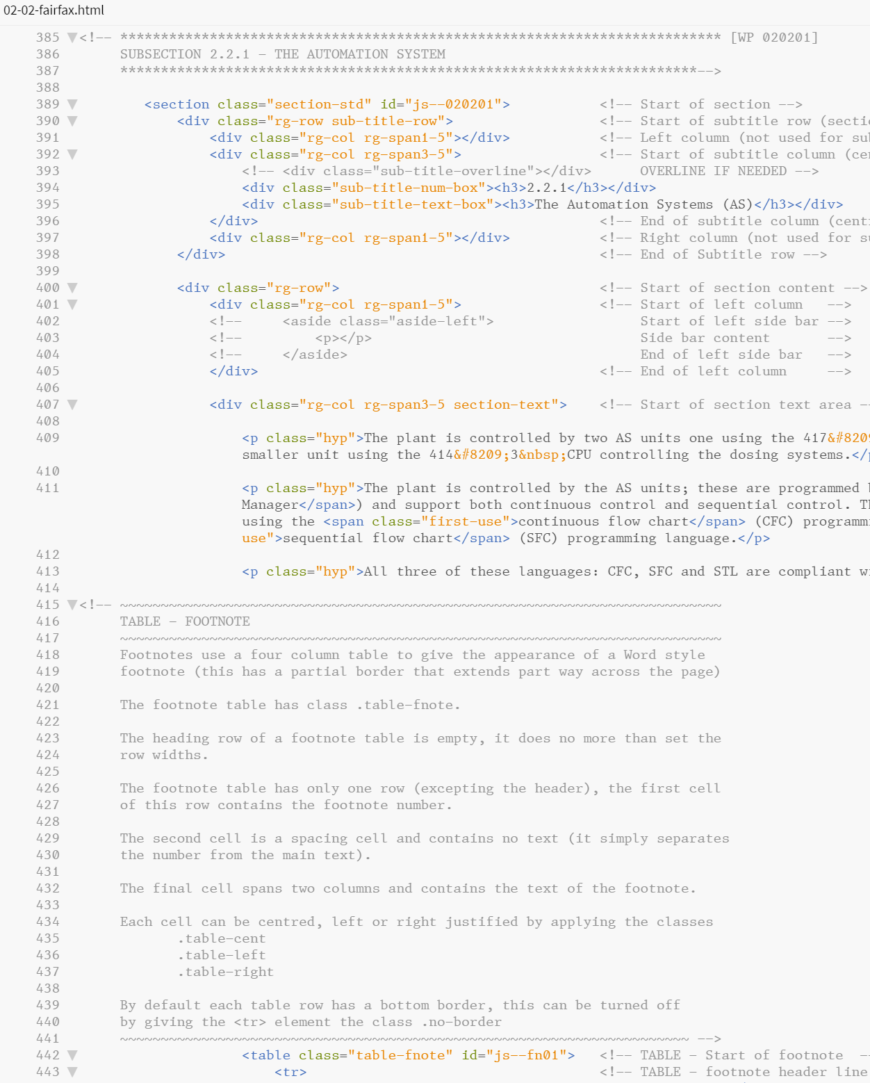 Figure 6.23 - Comments from a subsequent section of the HTML file