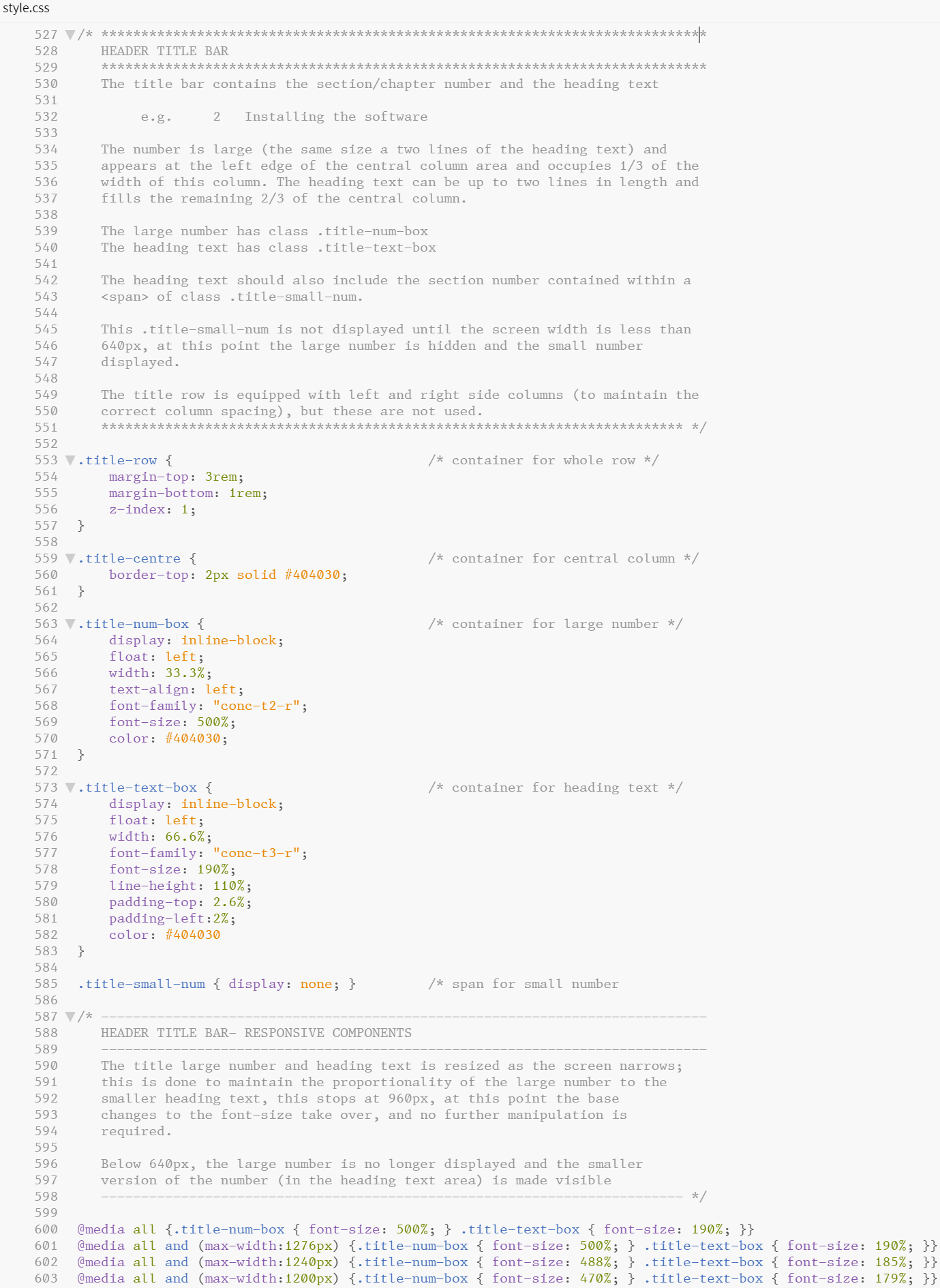 Figure 6.24 - Comments from within a CSS file